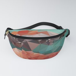 Copper Teal Low Poly Geometric Triangles Fanny Pack
