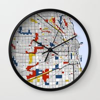 chicago map Wall Clocks featuring Chicago by Mondrian Maps