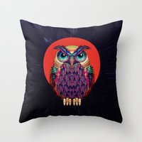 owl Throw Pillows featuring OWL 2 by Ali GULEC