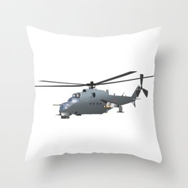 Russian Attack Helicopter Mi-24 Throw Pillow