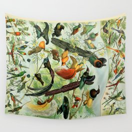 "Adolphe Millot ""Oiseaux"" Tropical Birds Nouveau Larousse 1905 Wall Tapestry"