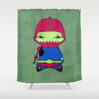 conan Shower Curtains featuring A Boy - Trap-Jaw by Christophe Chiozzi