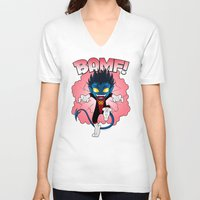 nightcrawler V-neck T-shirts featuring BAMF! by ZombieGirl