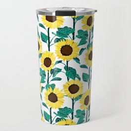 Sunny Sunflowers - White Travel Mug