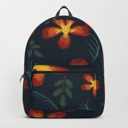 Aloha Tropical Summer Garden Flowers in Navy Blue Backpack