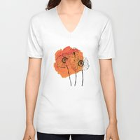 poppies V-neck T-shirts featuring poppies by morgan kendall