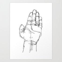 Ink doodle hand #1 Art Print