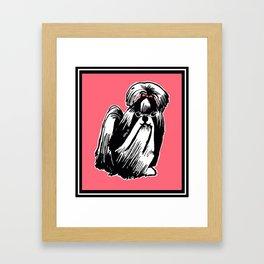 Longhaired Shih Tzu Illustration Framed Art Print