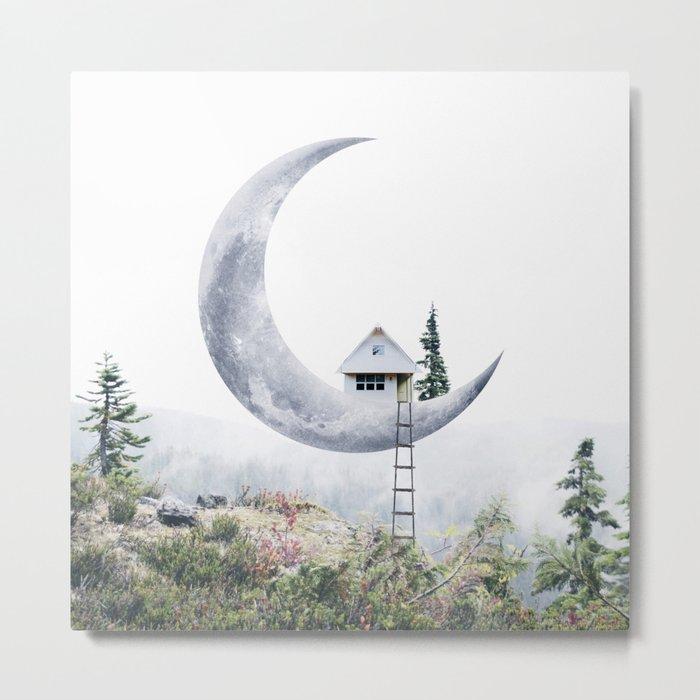 Moon House Metal Print Square Metal Wall decor