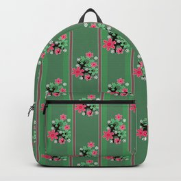 Striped, Christmas pattern, Christmas, Christmas deer, snow, snowflakes, green, red, gift paper, scr Backpack