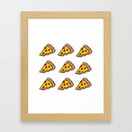 Pizza Pattern with Transparent Background Framed Art Print