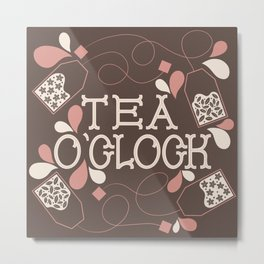 Tea O'Clock- Pink and Cream Metal Print