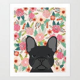 French Bulldog florals dog portrait pet art dog breeds custom frenchie gifts Art Print