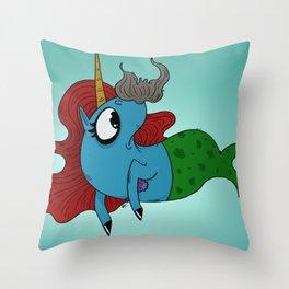 MerMustacheCorn Throw Pillow