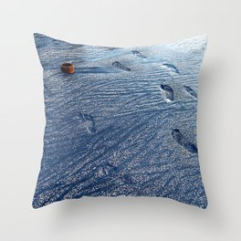 Footprints at the Beach Throw Pillow