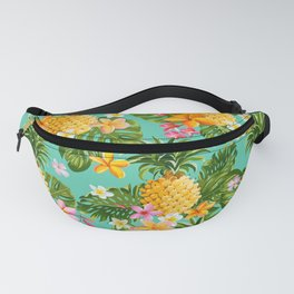 Vintage Pinapples and Tropical Flowers hand drawn illustration pattern. Fanny Pack
