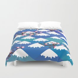 Spring Nature background with Japanese cherry blossoms, sakura pink flowers landscape. blue mountain Duvet Cover