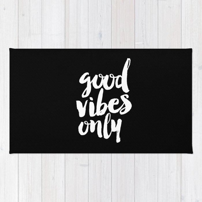 Good Vibes Only black and white monochrome typography poster design bedroom wall art home decor Rug