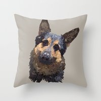 german Throw Pillows featuring German Shepherd by ArtLovePassion