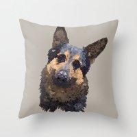 german shepherd Throw Pillows featuring German Shepherd by ArtLovePassion