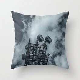 Radio Tower Cloudy Sky dark Throw Pillow