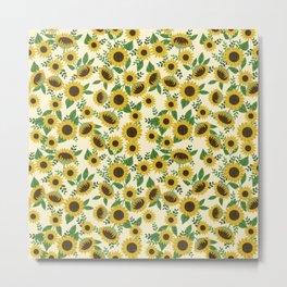 Sunflower Pattern - sunflowers, girls, florals, summer, boho, 90s, retro, hippie, groovy, yellow Metal Print