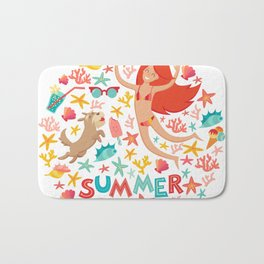 Summertime card. Circle cartoon design  with summer icons, girl with a dog and text. Isolated vector Bath Mat