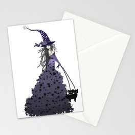Witch Walking Two Black Cats with Star and Moon Hat in Purple Stationery Cards