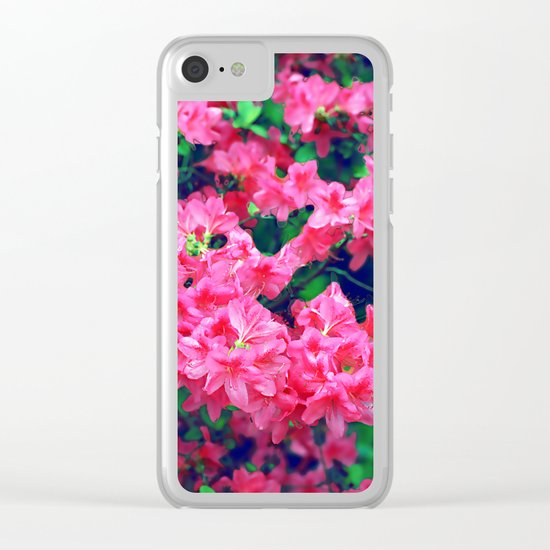 Pink azalea blooms. Clear iPhone Case