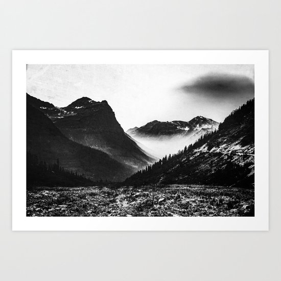 Mountain Valley Glacier National Park Art Print
