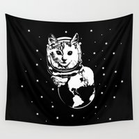 space cat Wall Tapestries featuring Space Cat by kamonkey