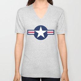 US Airforce style roundel star - High Quality image Unisex V-Neck