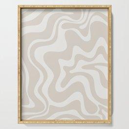 Liquid Swirl Contemporary Abstract Pattern in Mushroom Cream Serving Tray