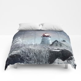 New England Winter Lighthouse Comforters
