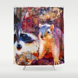 Squirrel And Raccoon Wildlife Art, Modern Nature Art Shower Curtain