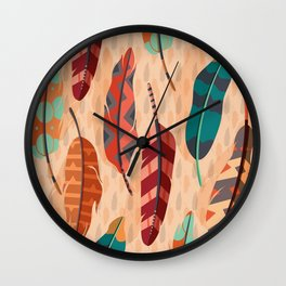 Native American, Colorful Feathers Wall Clock