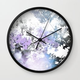 Watercolor Floral Lavender Teal Gray Wall Clock