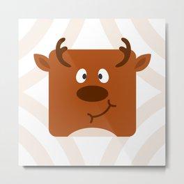 Cute Square Cartoon Reindeer Metal Print