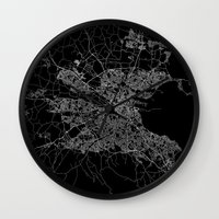 dublin Wall Clocks featuring Dublin map by Line Line Lines