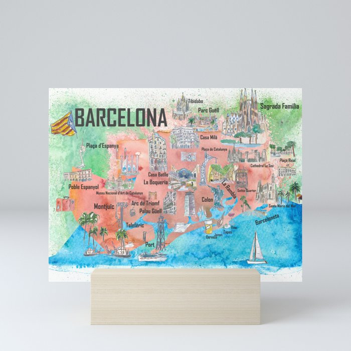 Barcelona Catalonia Spain Illustrated Travel Poster Favorite Map Tourist on illustrated wedding map, illustrated beach map, illustrated island map,