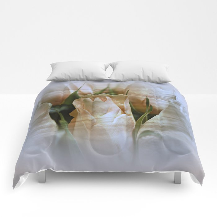 Cream Perfection Rose Abstract Comforters