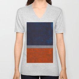 Minimalist Mid Century Rothko Color Field Navy Blue Dark Orange Grey Accent Square Color Block Unisex V-Neck