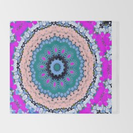 Lovely Healing Mandala  in Brilliant Colors: Black, Teal, Blue, Pink and Fuschia Throw Blanket
