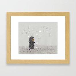 Hedgehog in the Fog fly like butterflies Framed Art Print