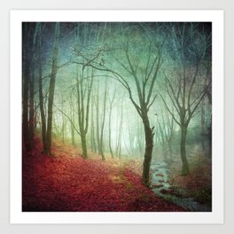 Misty Forest and Creek in Fall Art Print