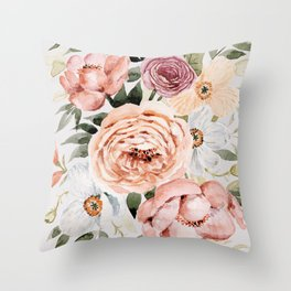 Muted Peonies and Poppies Throw Pillow