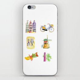 Typical Dutch wooden shoe with tulips iPhone Skin
