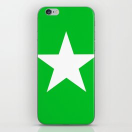 white star on green background iPhone Skin
