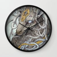 christmas Wall Clocks featuring In Memory, as a print by Caitlin Hackett