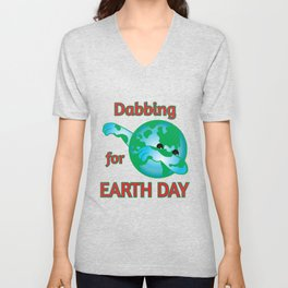 Cute Dabbing For Earth Day product Unisex V-Neck